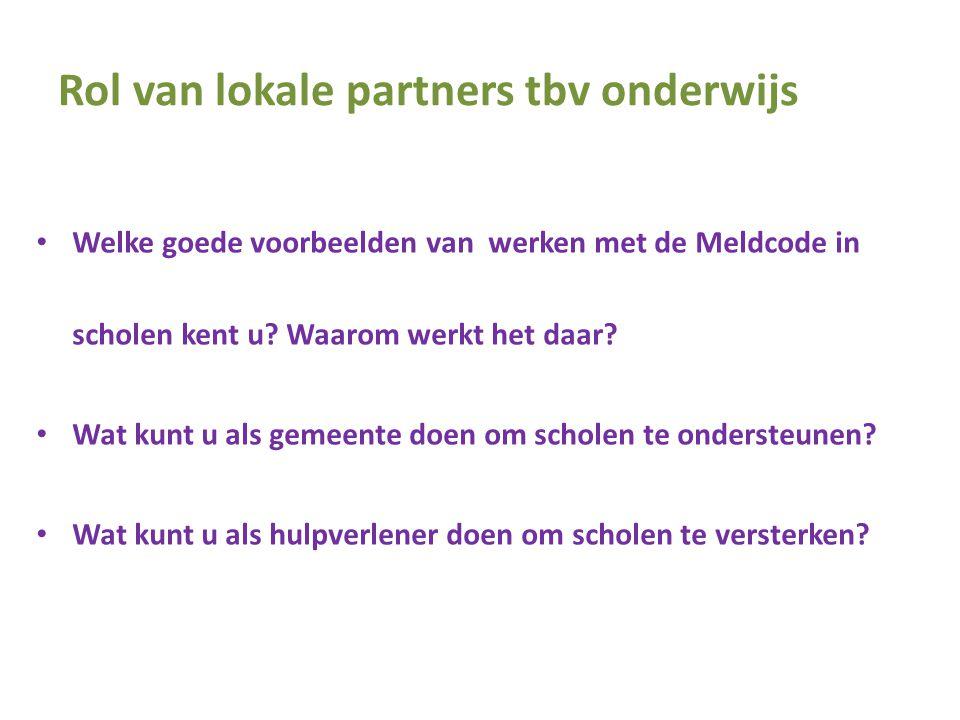 Rol van lokale partners tbv onderwijs