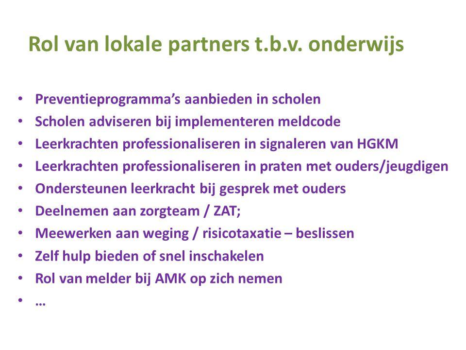 Rol van lokale partners t.b.v. onderwijs