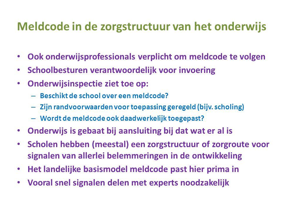Meldcode in de zorgstructuur van het onderwijs