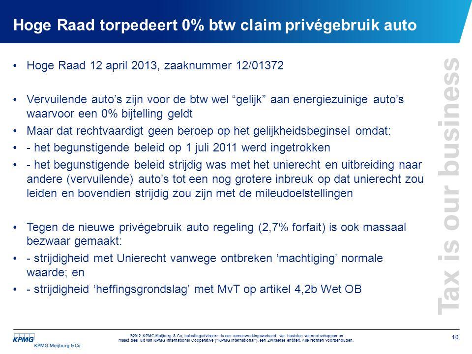 Hoge Raad torpedeert 0% btw claim privégebruik auto