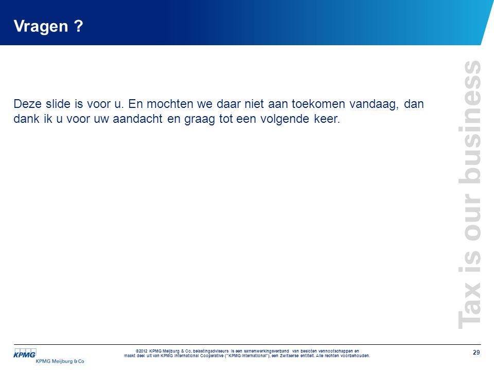 Vragen . Deze slide is voor u.