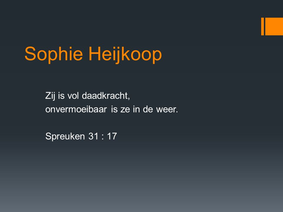 Sophie Heijkoop Zij is vol daadkracht, onvermoeibaar is ze in de weer.