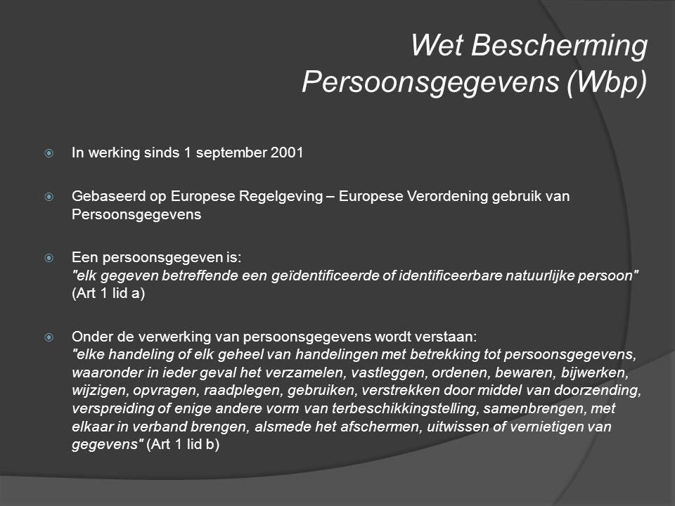 Wet Bescherming Persoonsgegevens (Wbp)
