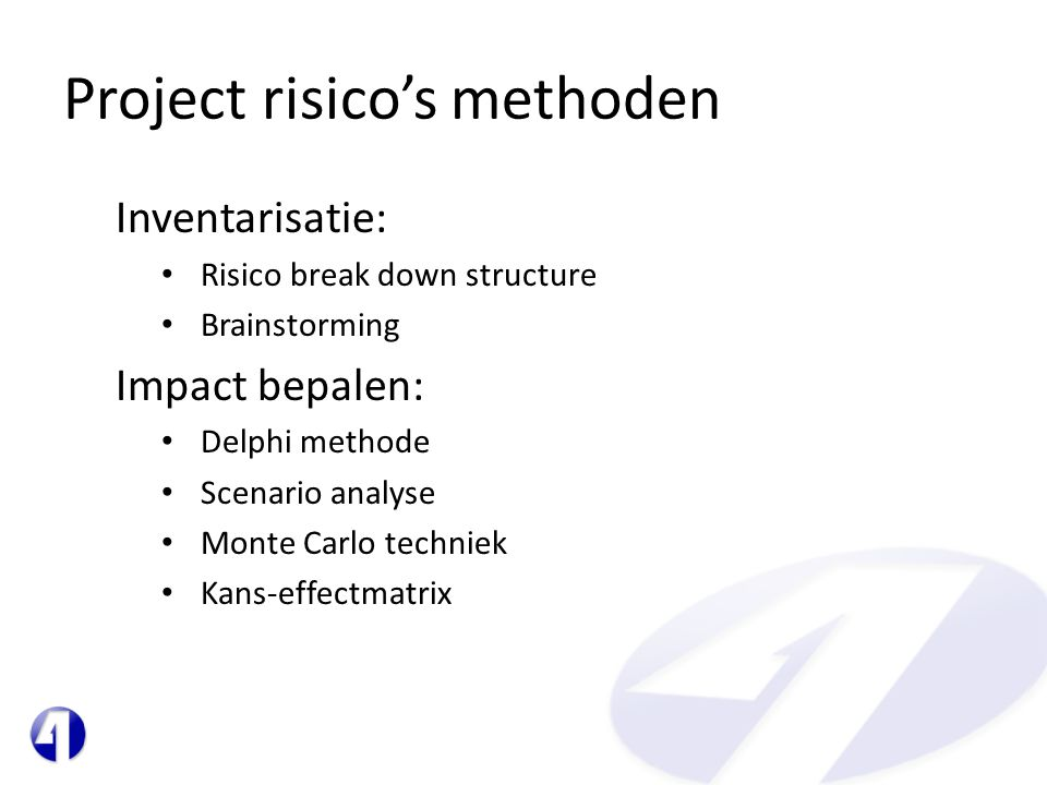 Project risico's methoden