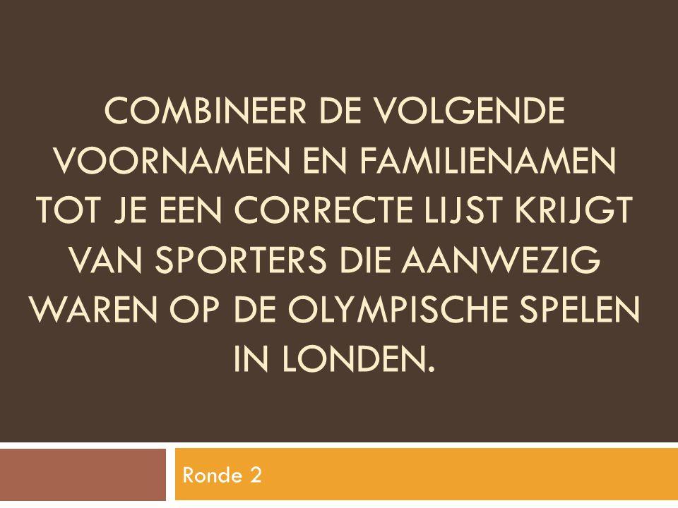 Combineer de volgende voornamen en familienamen tot je een correcte lijst krijgt van sporters die aanwezig waren op de olympische spelen in londen.