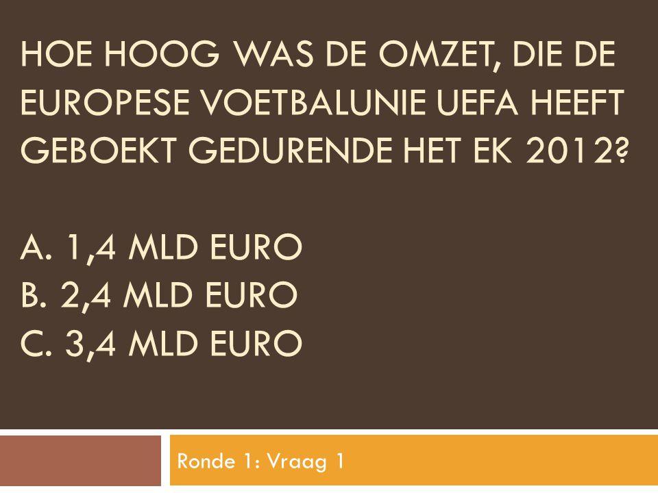 Hoe hoog was de omzet, die de europese voetbalunie uefa heeft geboekt gedurende het ek 2012 A. 1,4 mld euro B. 2,4 MLD Euro C. 3,4 MLD Euro