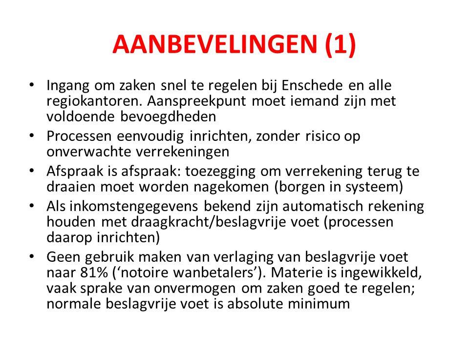 AANBEVELINGEN (1) Ingang om zaken snel te regelen bij Enschede en alle regiokantoren. Aanspreekpunt moet iemand zijn met voldoende bevoegdheden.