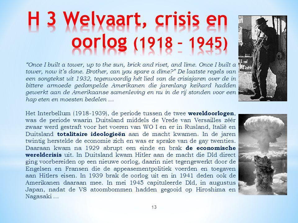 H 3 Welvaart, crisis en oorlog (1918 – 1945)