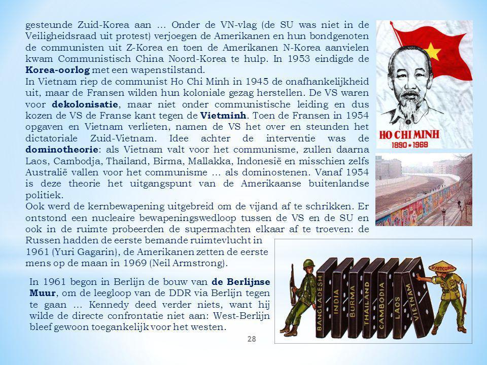 gesteunde Zuid-Korea aan … Onder de VN-vlag (de SU was niet in de Veiligheidsraad uit protest) verjoegen de Amerikanen en hun bondgenoten de communisten uit Z-Korea en toen de Amerikanen N-Korea aanvielen kwam Communistisch China Noord-Korea te hulp. In 1953 eindigde de Korea-oorlog met een wapenstilstand.