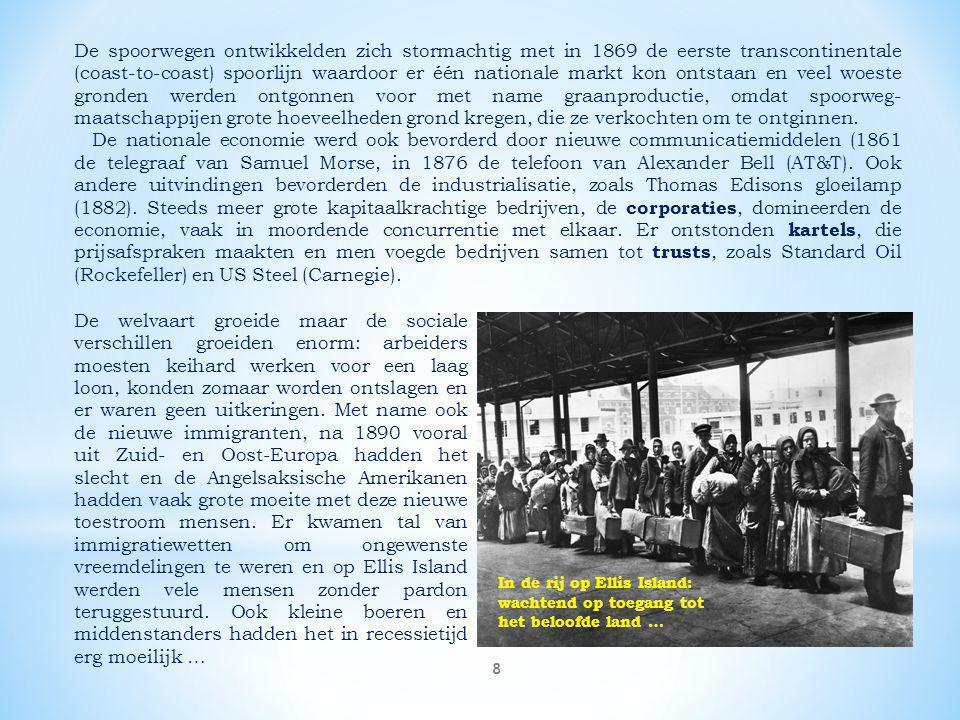 De spoorwegen ontwikkelden zich stormachtig met in 1869 de eerste transcontinentale (coast-to-coast) spoorlijn waardoor er één nationale markt kon ontstaan en veel woeste gronden werden ontgonnen voor met name graanproductie, omdat spoorweg-maatschappijen grote hoeveelheden grond kregen, die ze verkochten om te ontginnen.