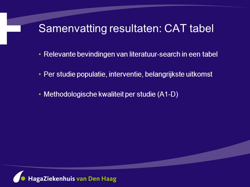 Samenvatting resultaten: CAT tabel