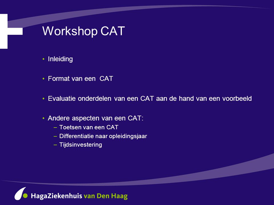 Workshop CAT Inleiding Format van een CAT