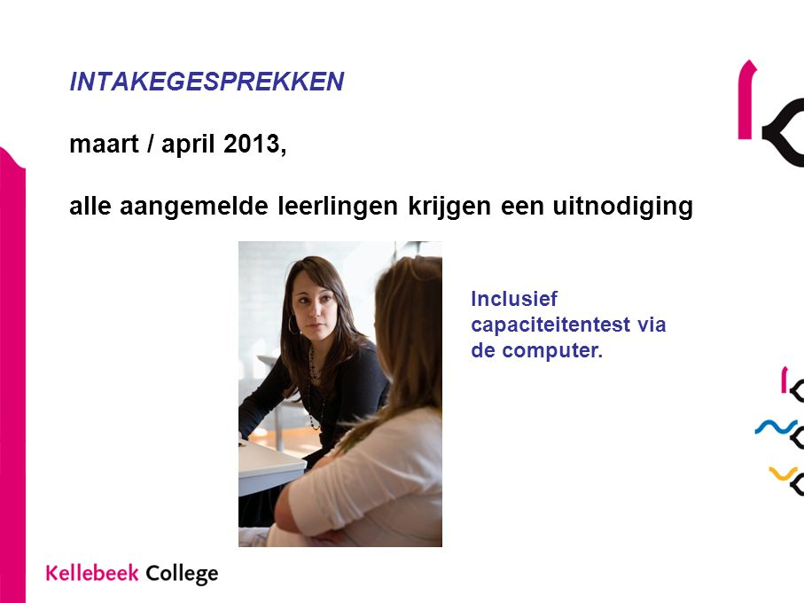 INTAKEGESPREKKEN maart / april 2013, alle aangemelde leerlingen krijgen een uitnodiging
