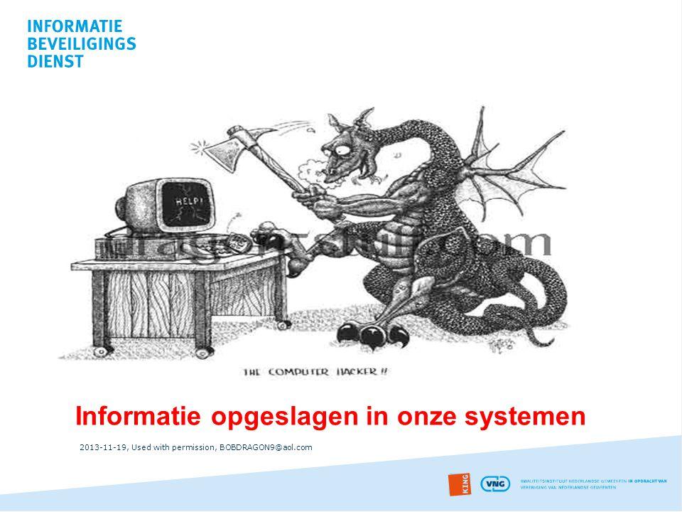 Informatie opgeslagen in onze systemen