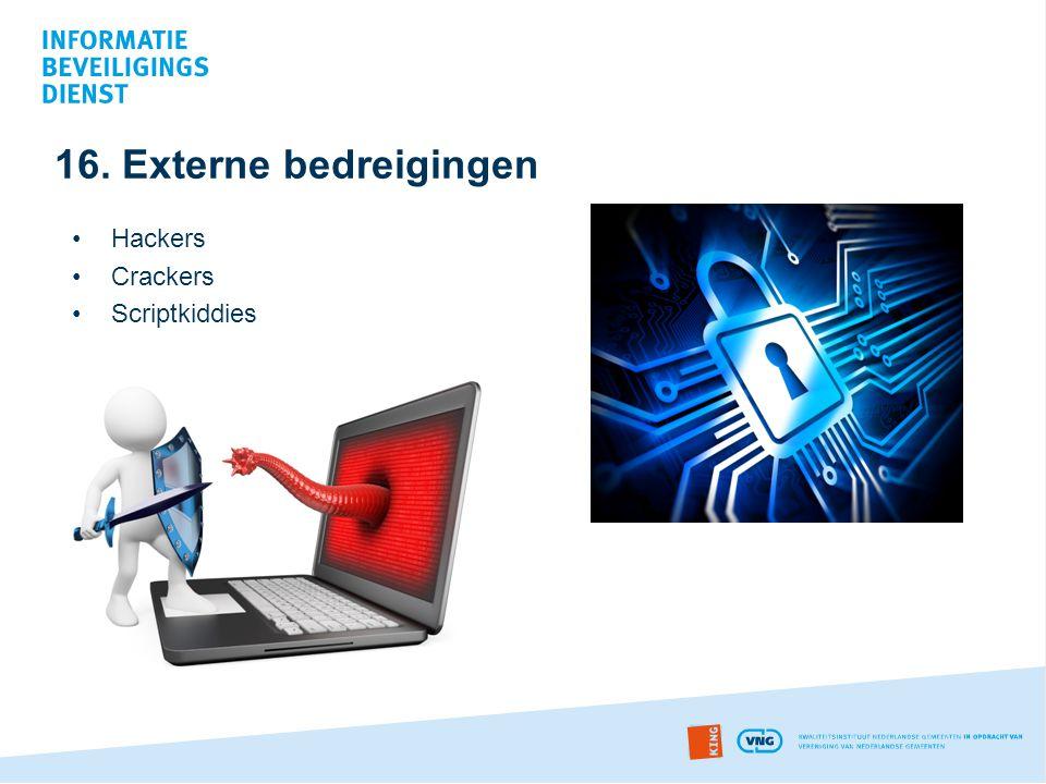 16. Externe bedreigingen Hackers Crackers Scriptkiddies