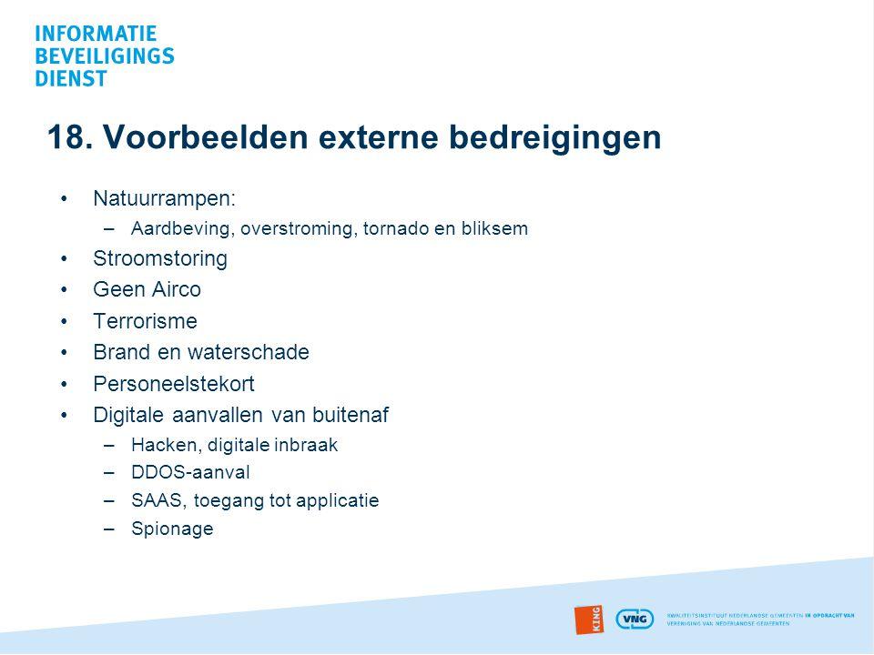 18. Voorbeelden externe bedreigingen