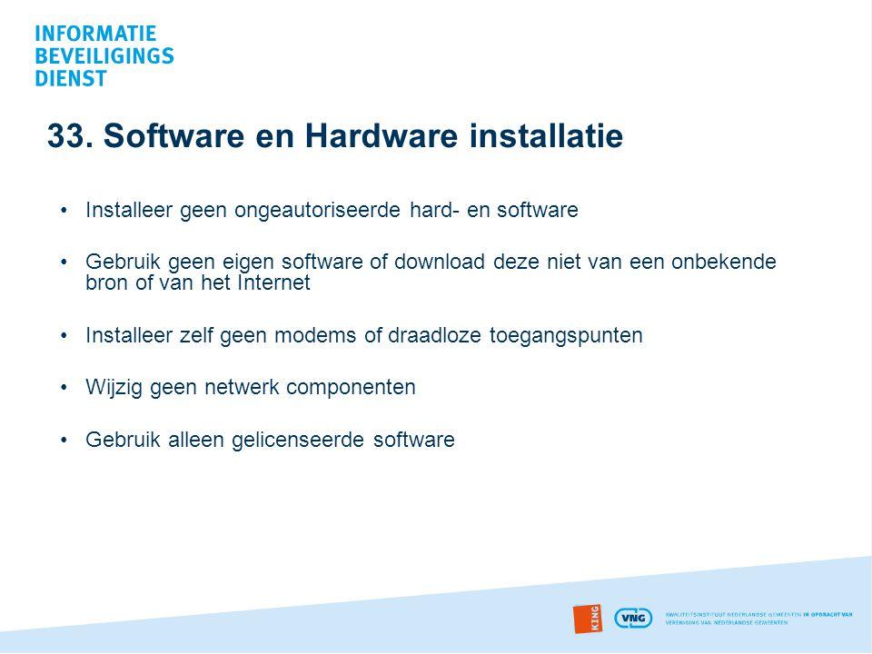 33. Software en Hardware installatie