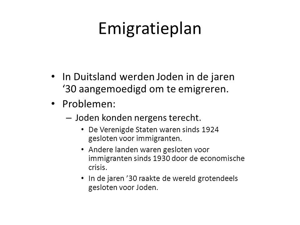 Emigratieplan In Duitsland werden Joden in de jaren '30 aangemoedigd om te emigreren. Problemen: Joden konden nergens terecht.