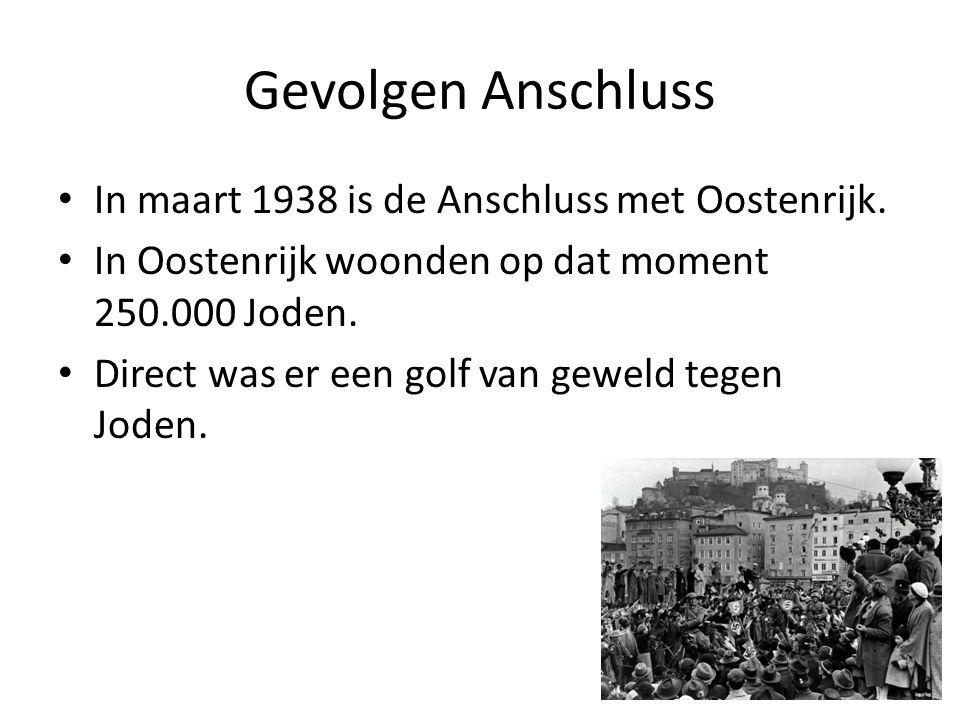 Gevolgen Anschluss In maart 1938 is de Anschluss met Oostenrijk.