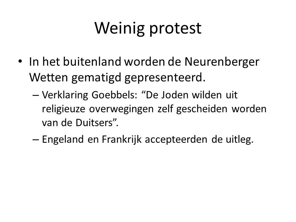 Weinig protest In het buitenland worden de Neurenberger Wetten gematigd gepresenteerd.