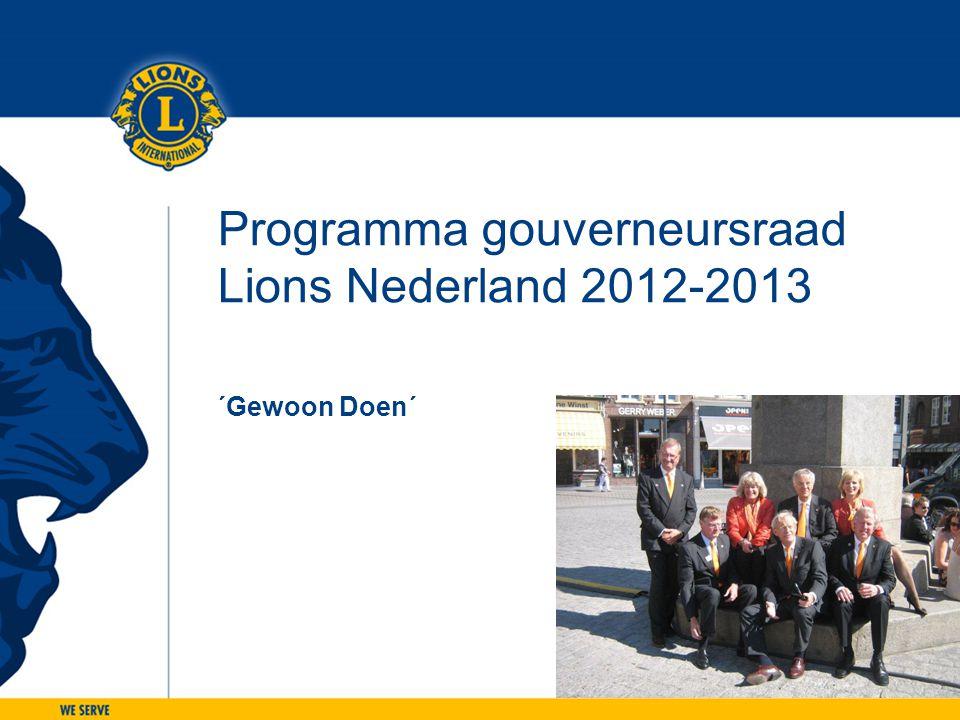 Programma gouverneursraad Lions Nederland 2012-2013