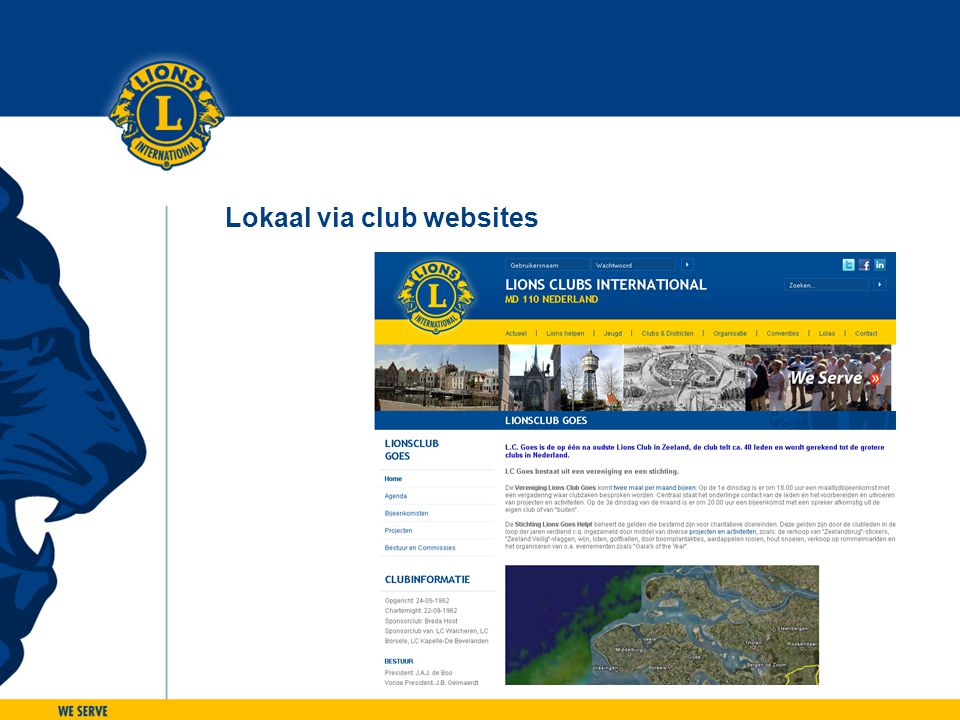 Lokaal via club websites
