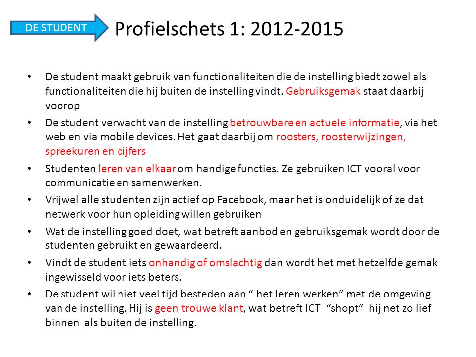 Profielschets 1: 2012-2015 DE STUDENT