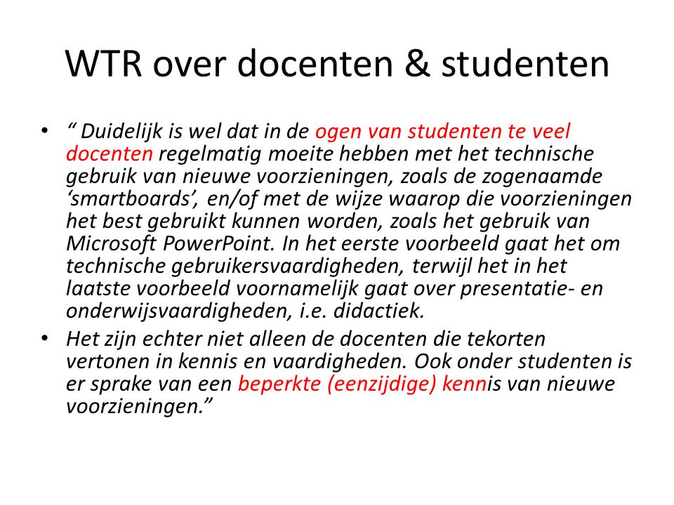 WTR over docenten & studenten