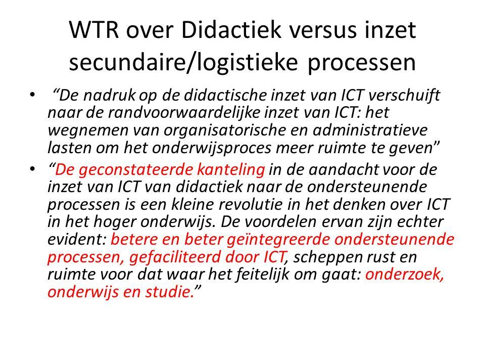 WTR over Didactiek versus inzet secundaire/logistieke processen