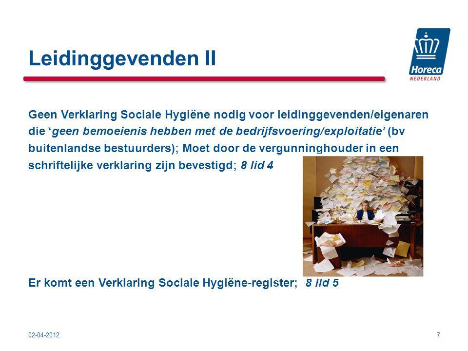 Leidinggevenden II Geen Verklaring Sociale Hygiëne nodig voor leidinggevenden/eigenaren.