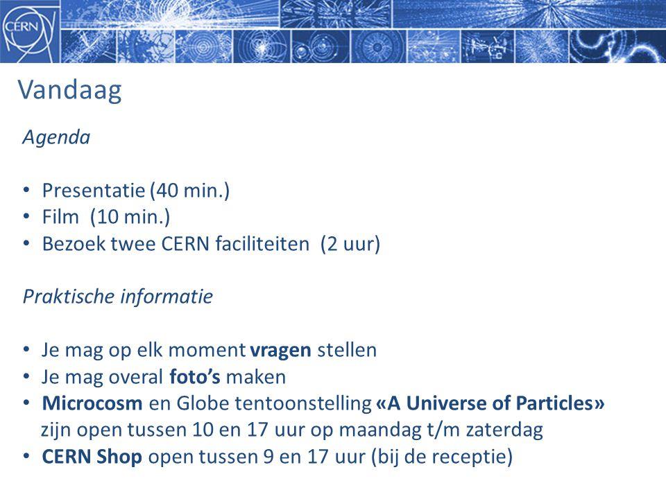 Vandaag Agenda Presentatie (40 min.) Film (10 min.)