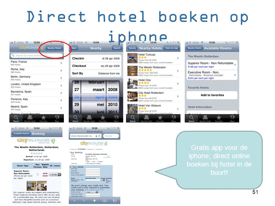 Direct hotel boeken op iphone