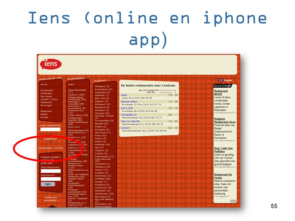 Iens (online en iphone app)