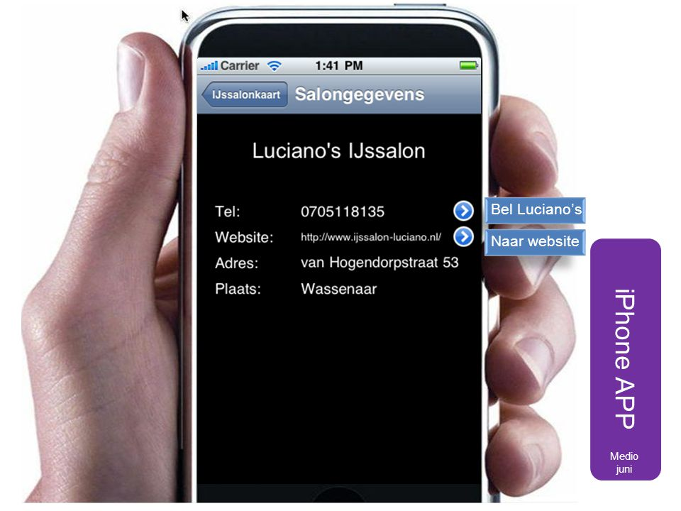 Bel Luciano's Naar website iPhone APP Medio juni