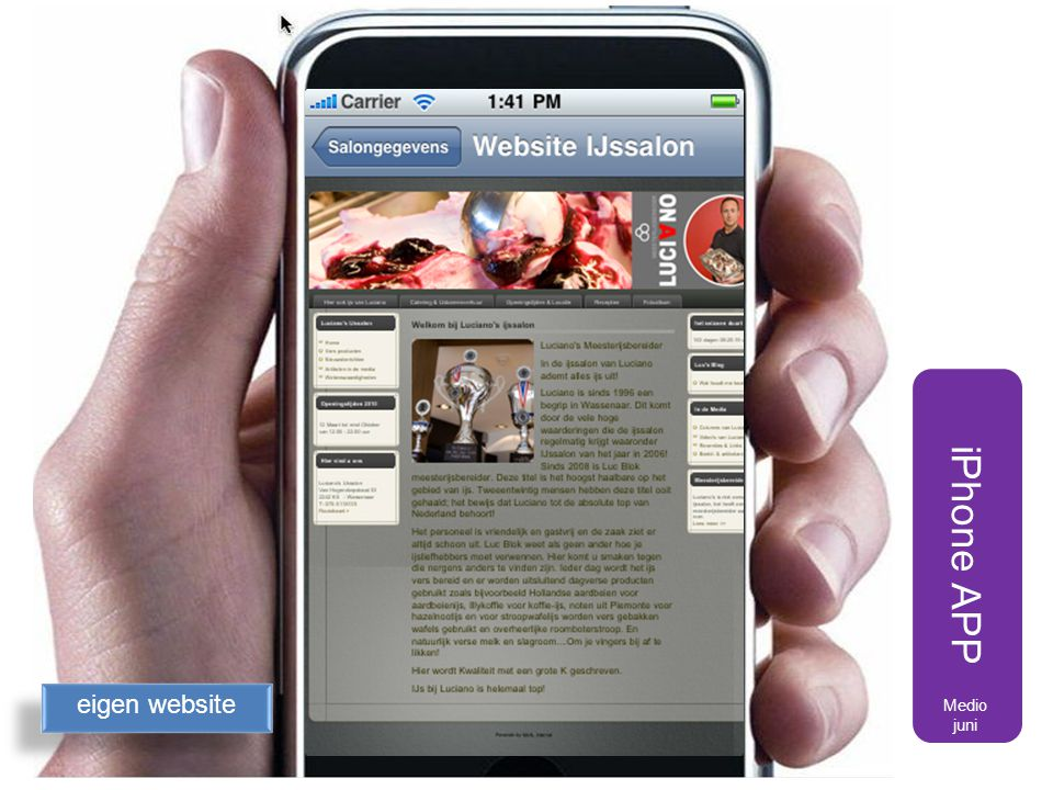 iPhone APP eigen website Medio juni