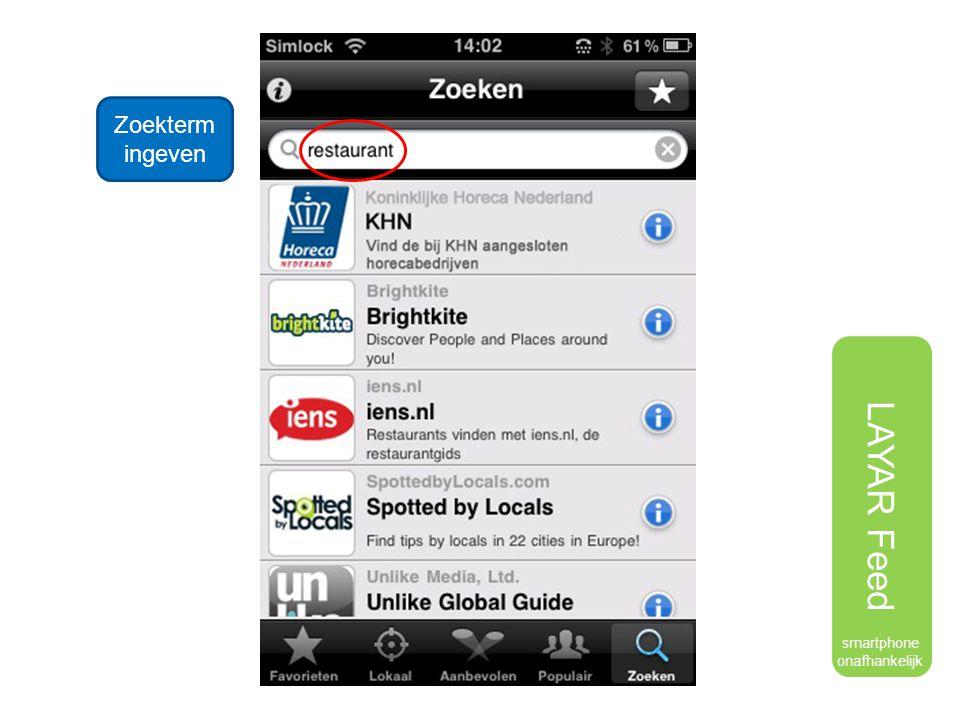 Zoekterm ingeven LAYAR Feed smartphone onafhankelijk