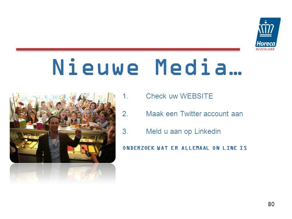 Nieuwe Media… Check uw WEBSITE Maak een Twitter account aan