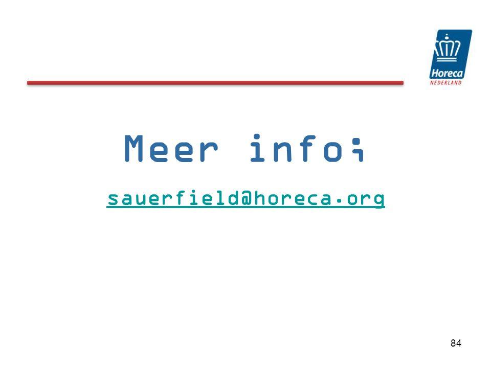 Meer info; sauerfield@horeca.org