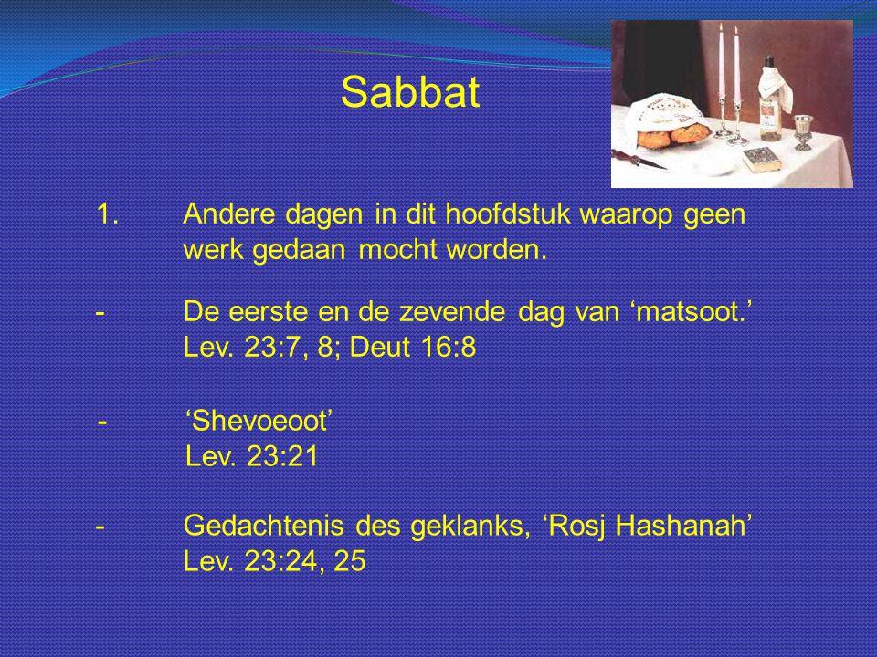 Sabbat 1. Andere dagen in dit hoofdstuk waarop geen werk gedaan mocht worden. - De eerste en de zevende dag van 'matsoot.' Lev. 23:7, 8; Deut 16:8.