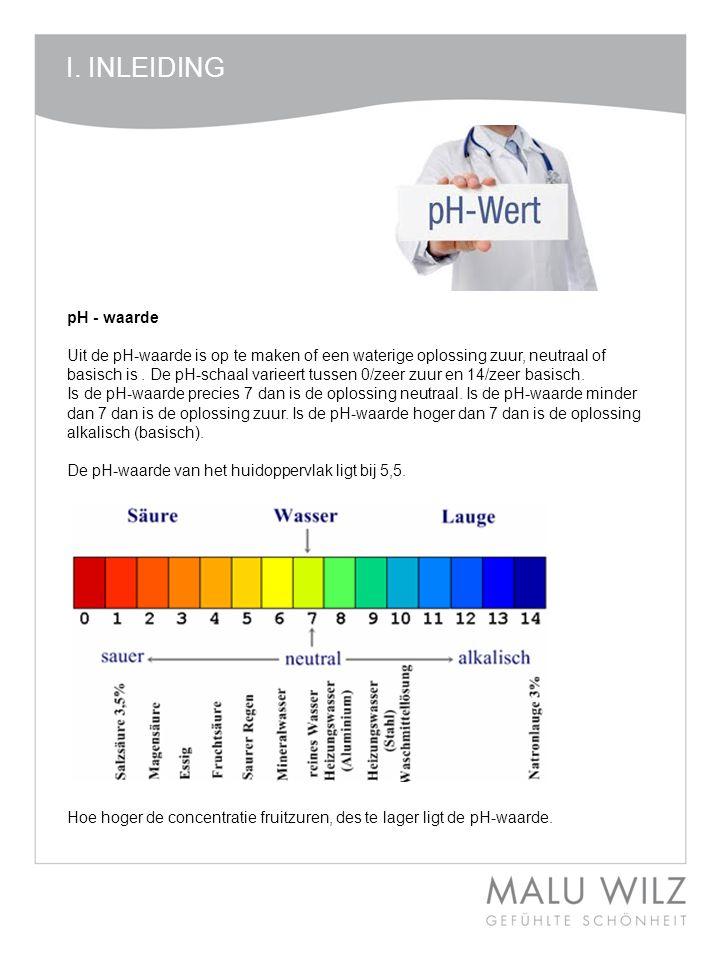 I. INLEIDING pH - waarde.