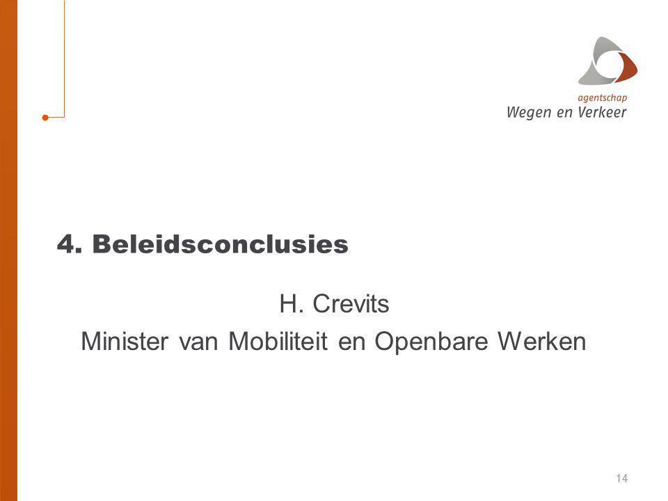 H. Crevits Minister van Mobiliteit en Openbare Werken