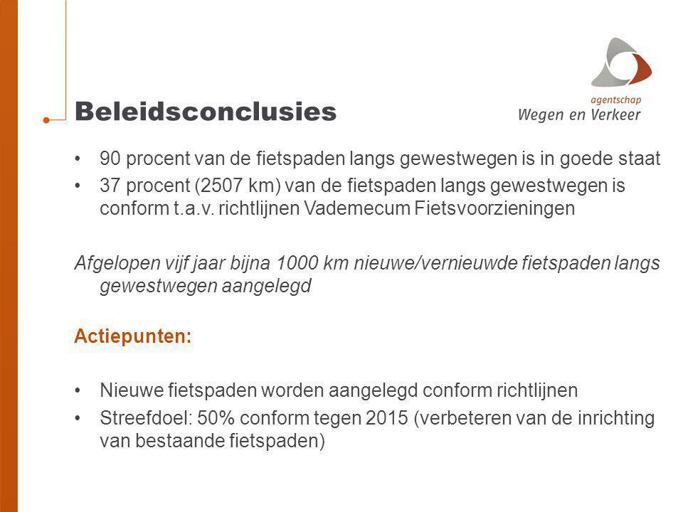 Beleidsconclusies 90 procent van de fietspaden langs gewestwegen is in goede staat.
