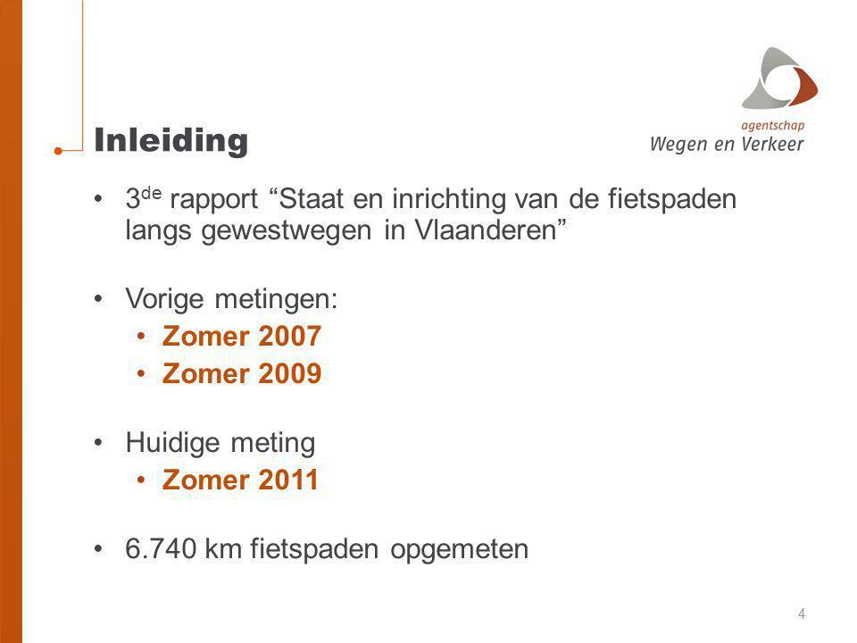 Inleiding 3de rapport Staat en inrichting van de fietspaden langs gewestwegen in Vlaanderen Vorige metingen: