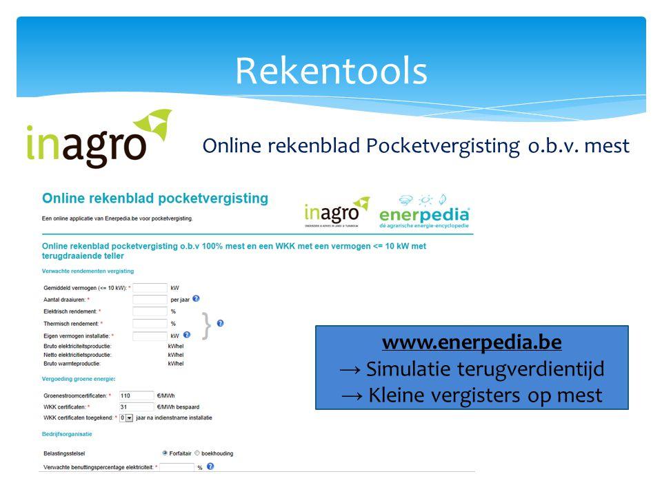 Rekentools Online rekenblad Pocketvergisting o.b.v. mest