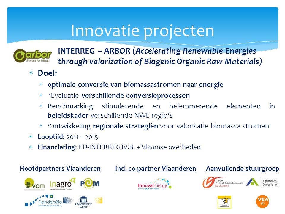 Innovatie projecten INTERREG – ARBOR (Accelerating Renewable Energies through valorization of Biogenic Organic Raw Materials)