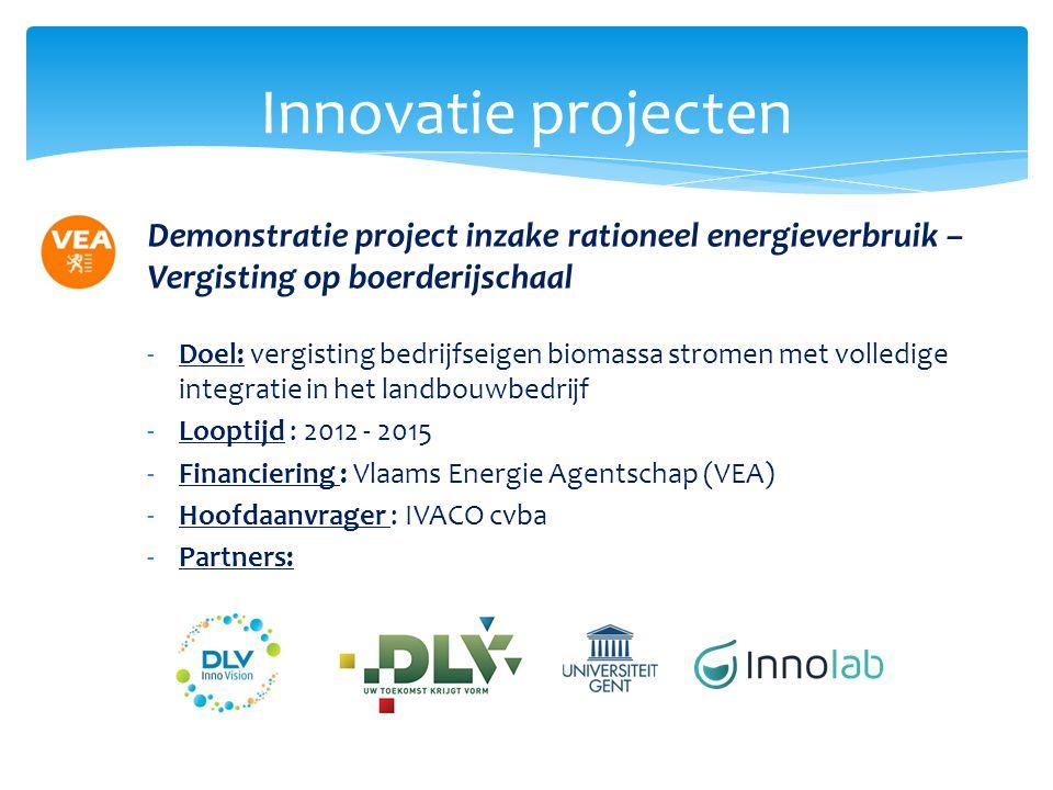 Innovatie projecten Demonstratie project inzake rationeel energieverbruik – Vergisting op boerderijschaal.