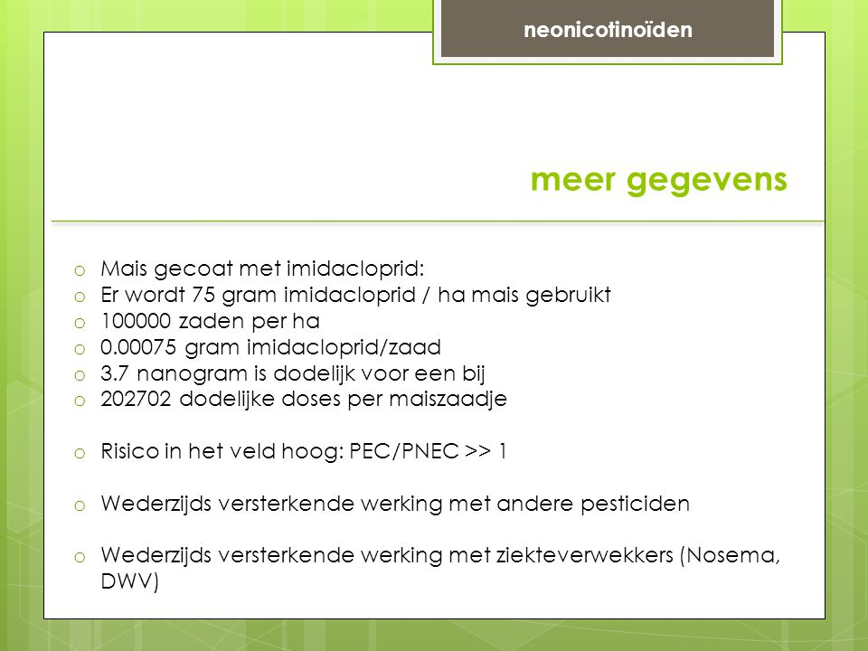 meer gegevens neonicotinoïden Mais gecoat met imidacloprid: