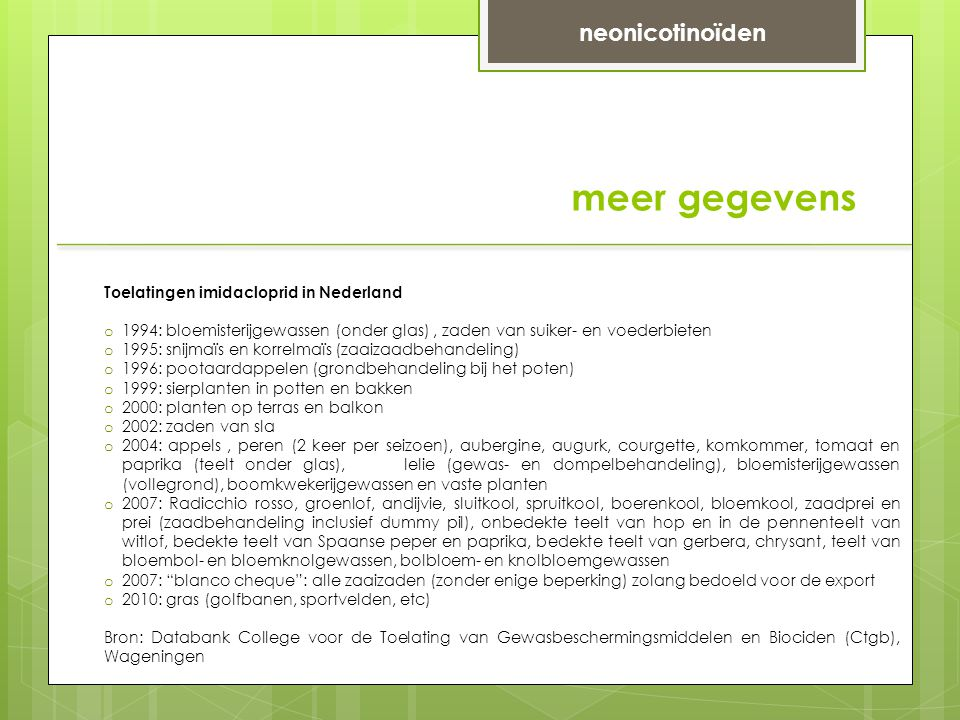 meer gegevens neonicotinoïden Toelatingen imidacloprid in Nederland