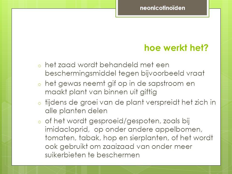 neonicotinoïden hoe werkt het het zaad wordt behandeld met een beschermingsmiddel tegen bijvoorbeeld vraat.