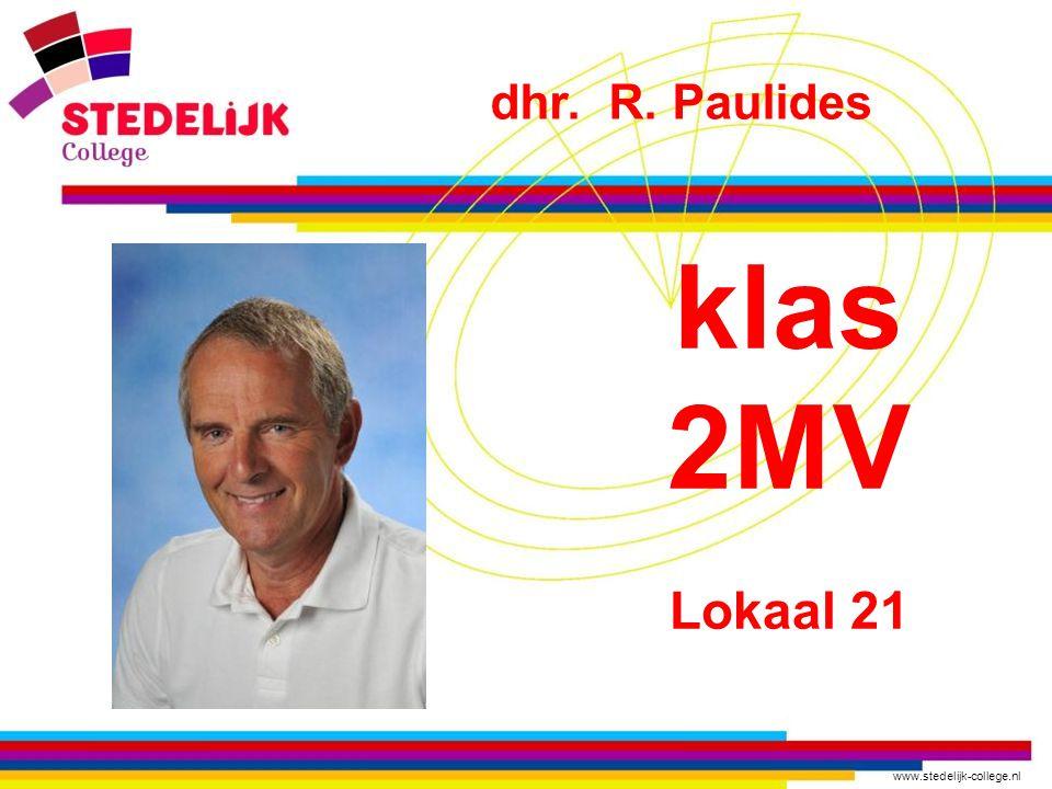 dhr. R. Paulides klas 2MV Lokaal 21
